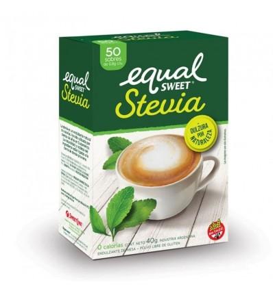 EDULCORANTE EQUALSWEET STEVIA SOBRES 50UN x 6 un.